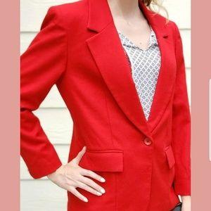Pendleton Red Blazer Jacket Work Wool Womens 8 M